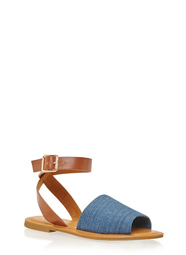 Sandals with Wrap Around Ankle Straps,BLUE DENIM,large