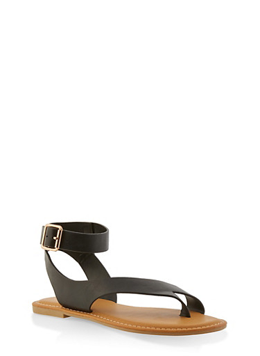 Toe Ring Ankle Strap Sandals,BLACK,large