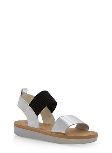 Double Strap Sling Back Platform Sandals,SILVER PATENT,large