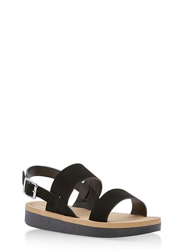 Double Band Slingback Sandals,BLACK NUBUCK,large