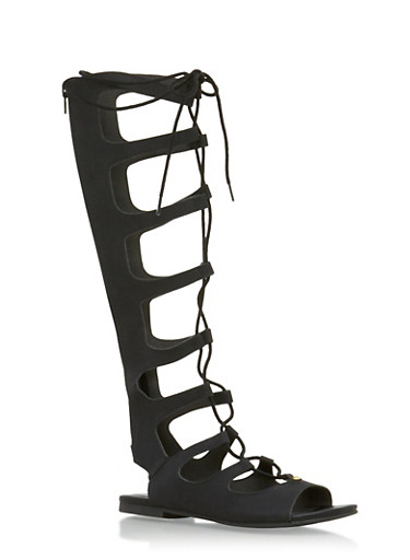 Tall Gladiator Sandals,BLACK,large