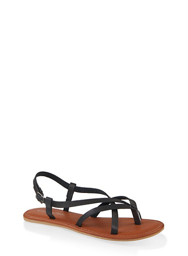 Strappy Toe Loop Sandals,BLACK,large
