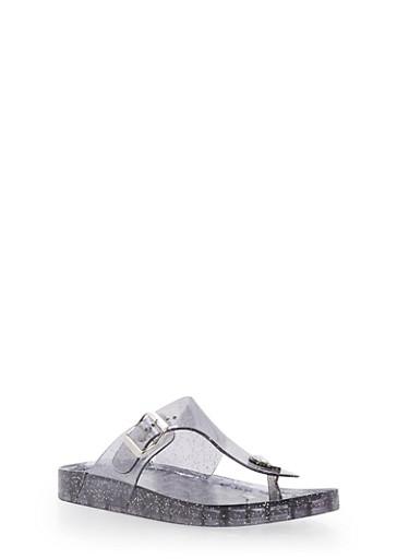 Glitter Thong Jelly Sandals,SMOKE,large