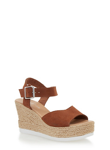 Leather Espadrille Wedge Sandals with Buckled Ankle Strap,COGNAC SUEDE,large