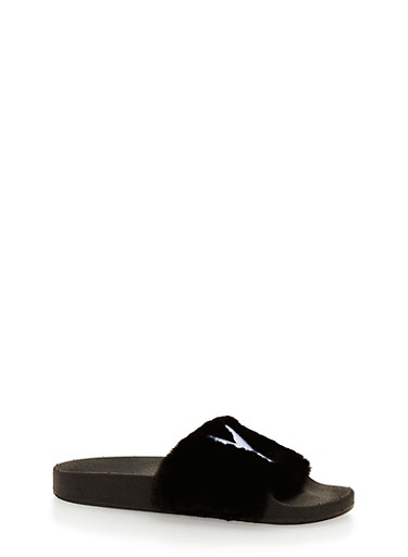 Faux Fur NY Slides,BLACK,large