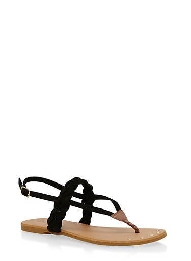 Braided Thong Sandals,BLACK,large