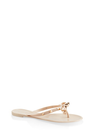 Studded Bow Jelly Flip Flops,NUDE,large