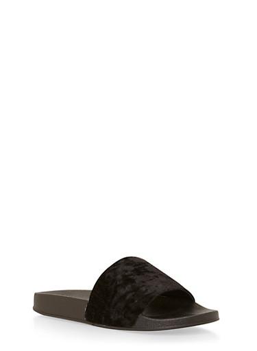 Crushed Velvet Slides,BLACK,large