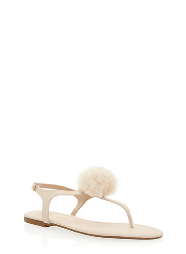 Thong Sandals with Pom Pom Accent,BEIGE,large