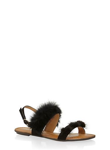 Faux Fur Double Strap Slingback Sandals,BLACK,large