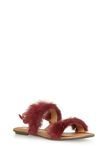 Faux Fur Strap Sandals,BURGUNDY,large