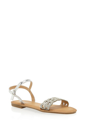 Beaded Lasercut Flat Sandals,SILVER,large