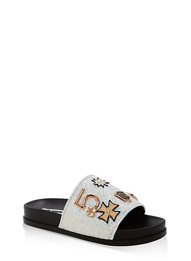Glitter Slides with Metallic Detail,WHITE,large