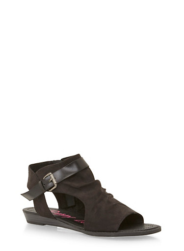 Hooded Cutout Sandals,BLACK F/S,large