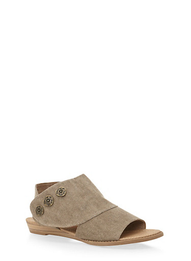 Cutout Flat Sandals with Three Buttons,BROWN GAUCHO,large