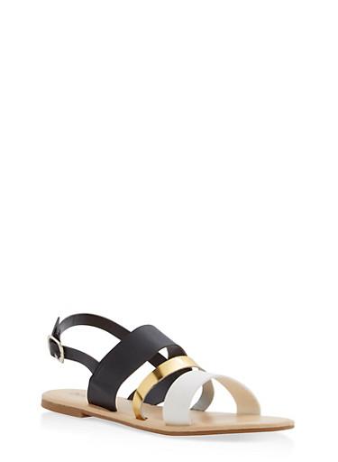 Triple Strap Slingback Sandals,BLACK,large