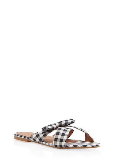 Gingham Print Bow Slide Sandals,BLACK,large