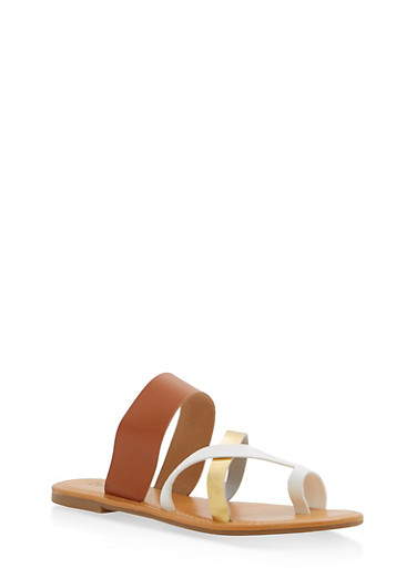 Toe Ring Slide Sandals,TAN,large