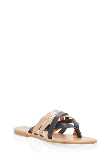 Strappy Faux Leather Thong Sandals,BLACK,large