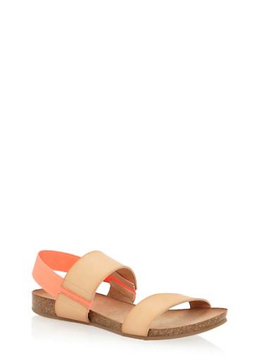 Cork Sandals with Elastic Back Strap,NATURAL/ORANGE,large