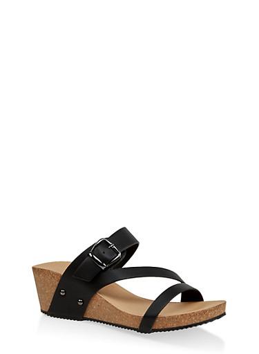 Wedge Slide Sandals,BLACK,large