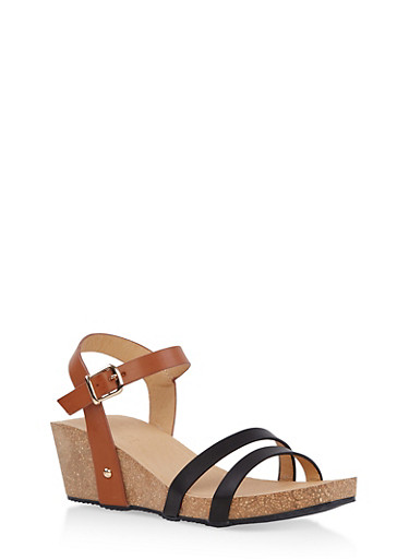 Cork Wedge Ankle Strap Sandals,BLACK,large