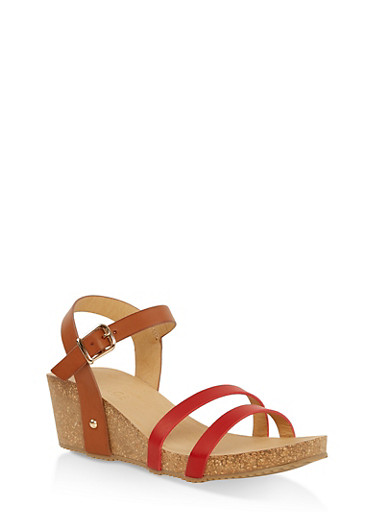 Cork Wedge Ankle Strap Sandals,RED,large