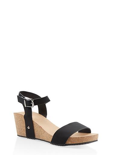 Ankle Strap Wedge Sandals,BLACK,large