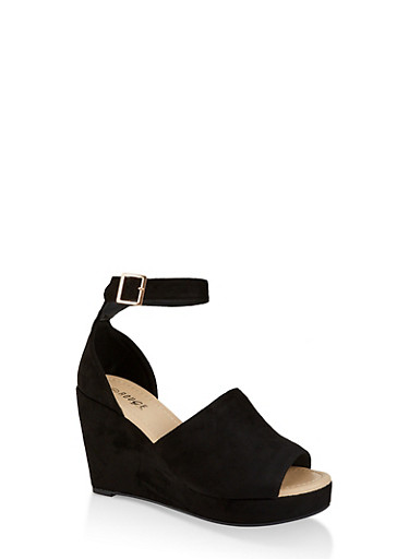 Ankle Strap Wedge Sandals | 1110074967575,BLACK SUEDE,large