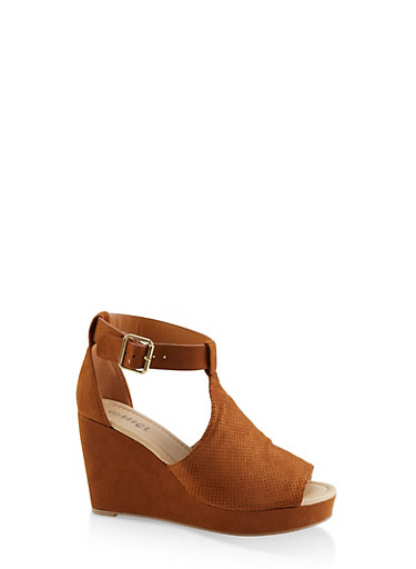 Perforated T Strap Wedge Sandals,TAN,large