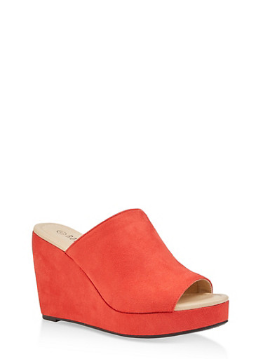 Faux Suede Wedge Sandals,RED S,large