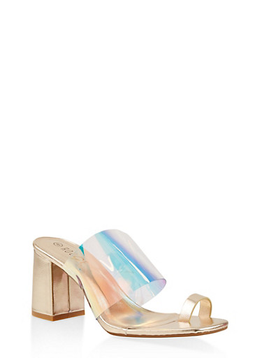 Iridescent High Heel Mules,GOLD,large