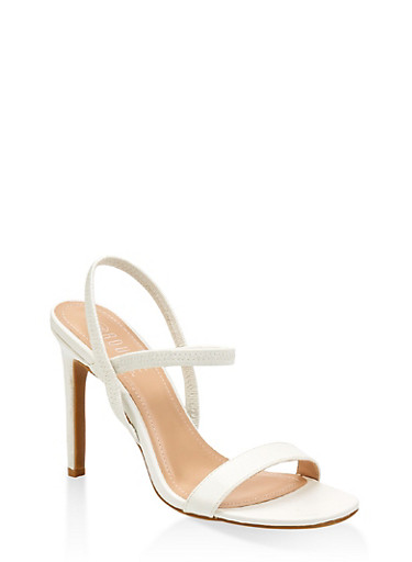 Slingback High Heel Sandals,WHITE,large