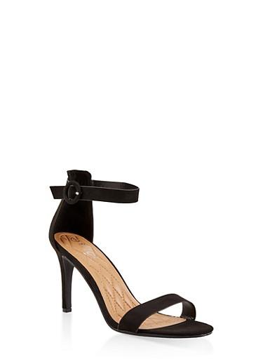 Ankle Strap High Heel Sandals,BLACK SUEDE,large