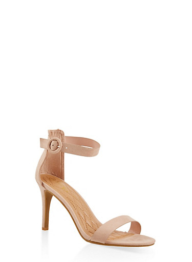 Ankle Strap High Heel Sandals,NUDE,large