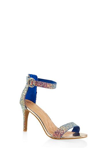 Ankle Strap High Heel Sandals,BLUE,large