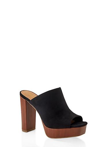 Peep Toe Platform Clogs,BLACK SUEDE,large