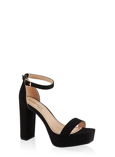 Ankle Strap Platform High Heel Sandals,BLACK SUEDE,large