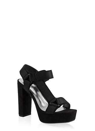 Velcro High Heel Platform Sandals,BLACK SUEDE,large