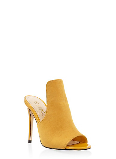 Cut Out High Heel Mules,YELLOW,large