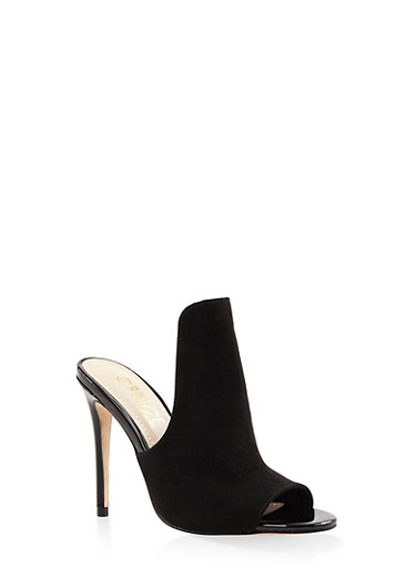 Cut Out High Heel Mules,BLACK SUEDE,large