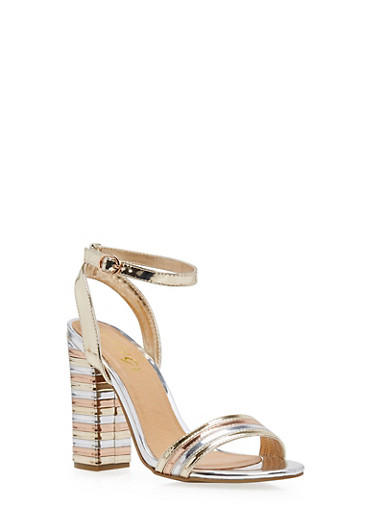 Ankle Strap Stacked High Heel Sandals,GOLD PATENT,large