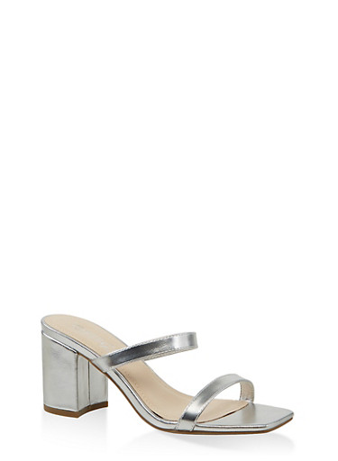 Double Band Block Heel Sandals,SILVER,large