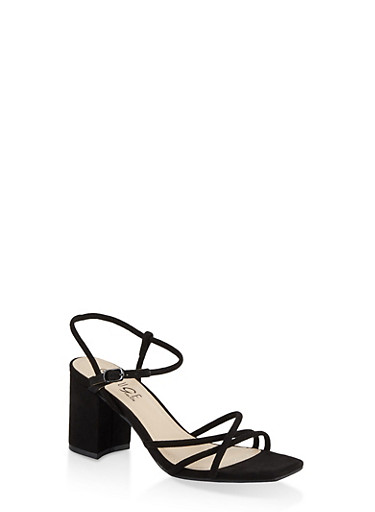 Strappy Mid Block Heel Sandals,BLACK SUEDE,large
