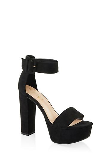Buckle Ankle Strap Platform Sandals,BLACK SUEDE,large