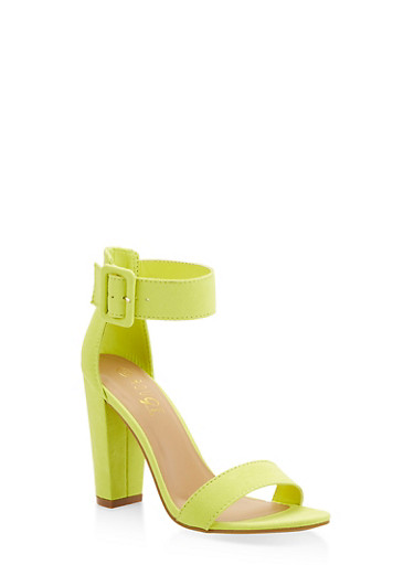 Single Band High Heel Sandals,YELLOW,large