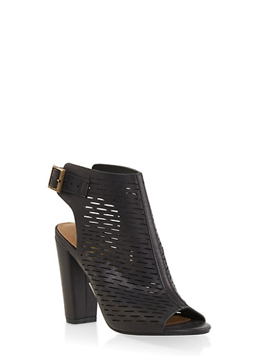 Laser Cut Peep Toe High Heel Booties,BLACK,large