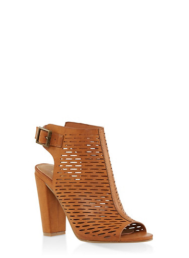 Laser Cut Peep Toe High Heel Booties,TAN,large