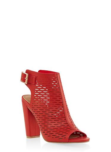 Laser Cut Peep Toe High Heel Booties,RED,large