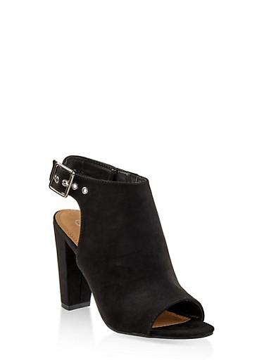 Cut Out Slingback High Heel Sandals,BLACK SUEDE,large